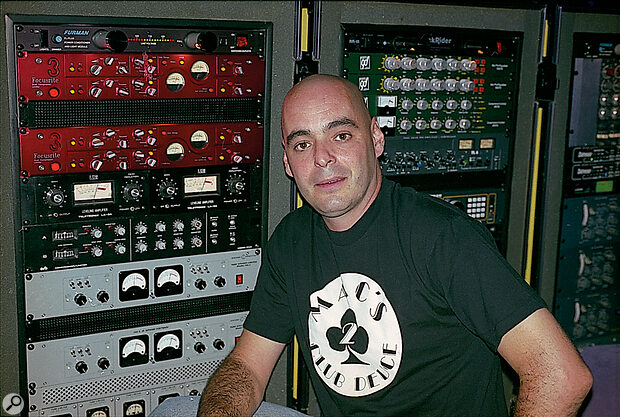 Tom Lord-Alge with part of his outboard rack.