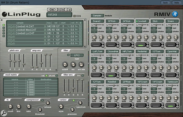 Linplug's impressive RMIV drum machine comes bundled with Tracktion 2.