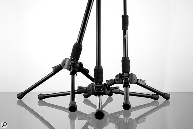 The low centre of gravity and locking mechanisms enable the stands to be tilted forwards, allowing you to mic drums, for instance, without needing a boom.