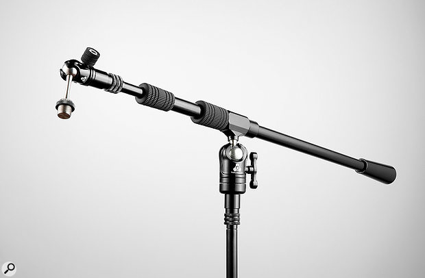 The booms attach to the stands via a bespoke fixture, but adapters are available for standard US and EU mic threads.