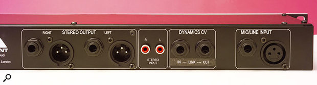 The rear-panel connections include a stereo input on RCA phonos for mixing a stereo monitoring signal in with the mic or DI inputs.