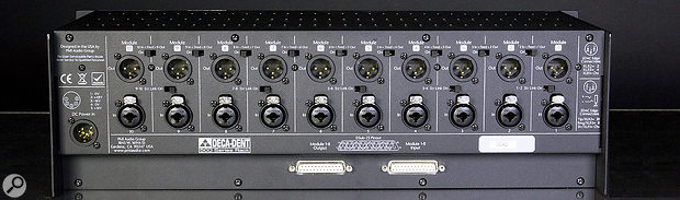 The first eight of 10 individual audio inputs and outputs on the Deca-Dent are duplicated on AES59 (Tascam) D-subs, and combi connectors accommodate either jack or XLR connectors on the inputs.