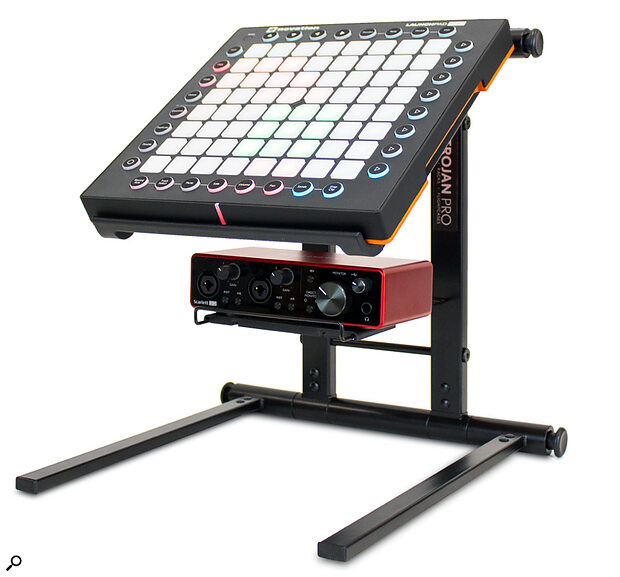 Trojan Pro LTS07 Laptop Stand with Scarlett 2i2 and Novation LaunchPad
