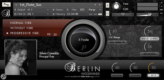 Picture 10: Orchestral Tools' Berlin Woodwinds offers a choice of no vibrato, normal vibrato and 'progressive' vibrato styles, which can be switched on the fly using MIDI CC commands.