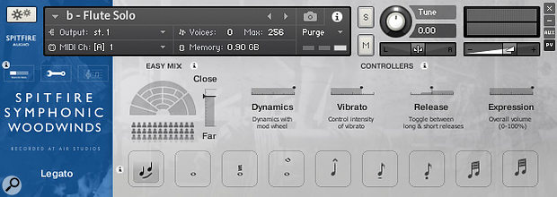 Picture 12: Spitfire Audio's Symphonic Woodwinds' on-screen fader enables you to add vibrato to a held note whenever you need it. A MIDI controller can be assigned to the fader so you can sequence your vibrato control changes.