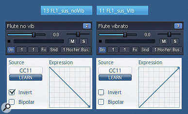 Picture 11: You can create your own vibrato crossfades by mapping a MIDI control change to positive and negative volume curves — in this example, CC#11 (Expression) is used to crossfade between non-vibrato and vibrato versions of the same instrument.