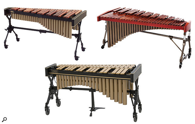 Mallet percussion — clockwise from top left, xylophone, marimba, vibraphone (not to scale).