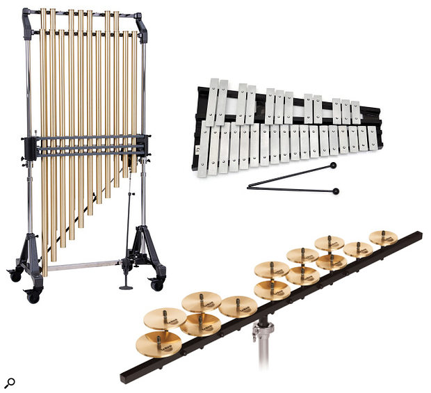 Orchestral chimes — clockwise from top left, tubular bells, glockenspiel, crotales (not to scale)
