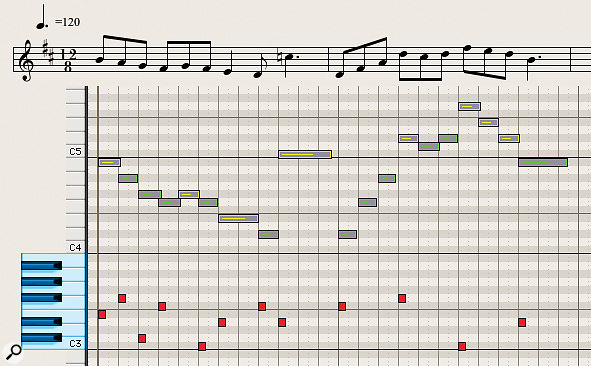 Diagram 11: Keyswitching is taken to extremes in this lively flute melody. Thankfully, most woodwind melody lines work well with only one or two articulations!