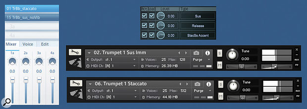 Layering a staccato articulation over a sustains patch will add definition to fanfares, rhythmic figures and fast-paced melodies. It's also a useful trick for emphasising selected notes in a passage. Clockwise from left: staccato overlay in Vienna Instruments, EastWest Play and Orchestral Tools Berlin Brass (Kontakt).