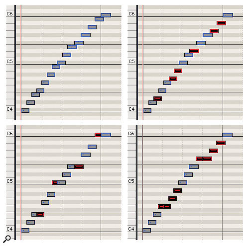 You can perform your own authentic-sounding harp glissandos by playing a quick sweep up or down the keyboard white notes, then editing the notes to the right pitches for your music, as shown in these examples. Top left: Example 1. original white-note glissando (C, D, E, F, G, A, B). Top right: Example 2. Notes edited to C minor scale (C, D, Eb, F, G, Ab, Bb). Bottom left: Example 3. Major pentatonic scale of C, D, E, G and A. Bottom right: Example 4. Whole tone scale (C, D, E, F#, G#, A#). Edited notes are marked in red.