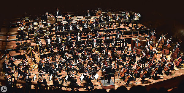 The symphony orchestra, dressed and ready for action.