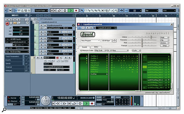 Liquid Instruments Saxophone running under Cubase SX. The view here is of the sound browser: the list of Programs is that belonging to the baritone sax, and each phrase is displayed as a miniature waveform. The last column shows phrases being mapped in the key-assignment area.