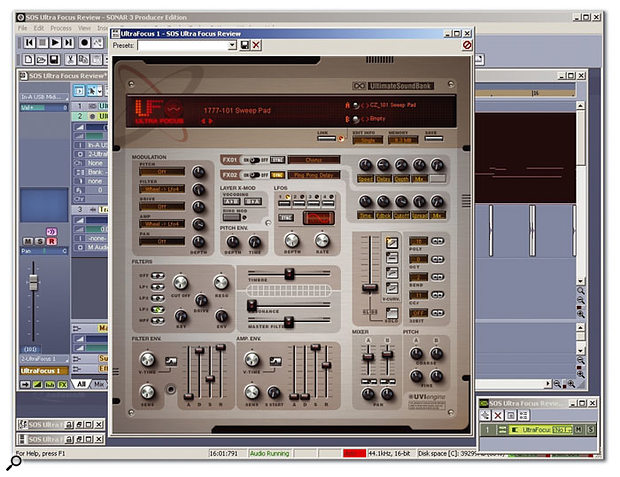 Ultra Focus hosted by Cakewalk's Sonar 3.1.1 on a PC.