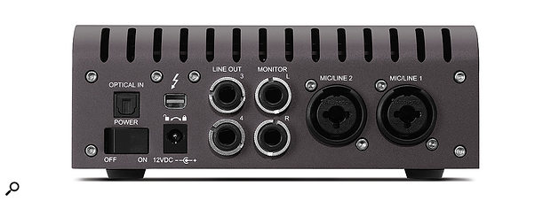 The Apollo Twin MkII crams a  lot into its modestly sized back panel, including an optical input, a  Thunderbolt port, line and monitor outputs on quarter-inch jack sockets and mic/line inputs on combi-sockets.