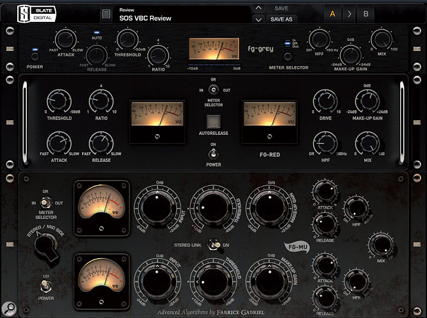 The three VBC plug-ins can be used individually or together in the FG-Rack plug-in.