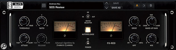 FG-Red is modelled after the Focusrite Red 3 compressor/limiter, a favourite of Chris Lord-Alge's.