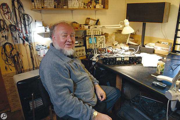 Vic Keary in his workshop. A Culture Vulture can be seen on test on the workbench.