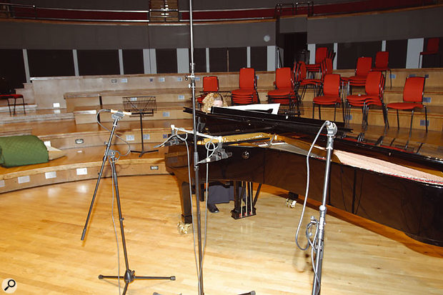 Both Paul and Hugh chose Sennheiser MKH20 and MKH40 mics for close-miking the violin. However, Paul used a widely spaced pair of SE Electronics SE1 mics for homing in on the piano, in contrast to the closely spaced Sennheiser MKH20s which Hugh opted for.