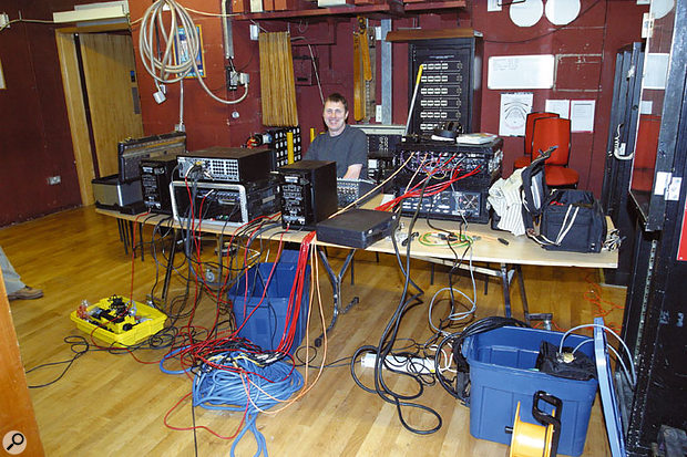 Paul and Hugh set up their separate recording rigs just off the stage in the wings. Paul recorded through an Alesis analogue mixer to an Alesis HD24 multitrack recorder, while Hugh recorded to his Genex high-resolution multitrack recorder via Focusrite and GML preamps.