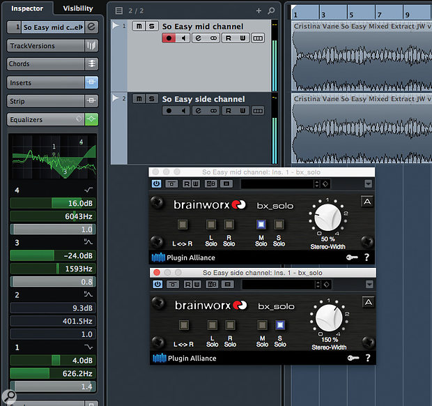 If your DAW doesn't include a Mid-Sides processor plug-in, investigate Brainworx's freebie bx_solo. One instance is used on the stereo 'source' track, and another on a duplicate.
