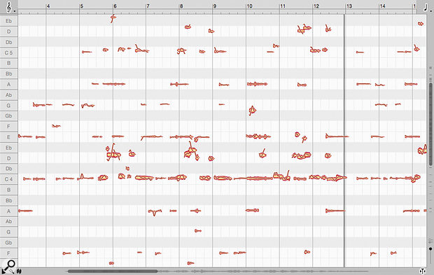In my 'sparse' mix Melodyne example, the vocal melody is predominantly displayed in the larger note blobs, in the C4-G4 range, but less easy to spot are the harmonics present in blobs above this range.