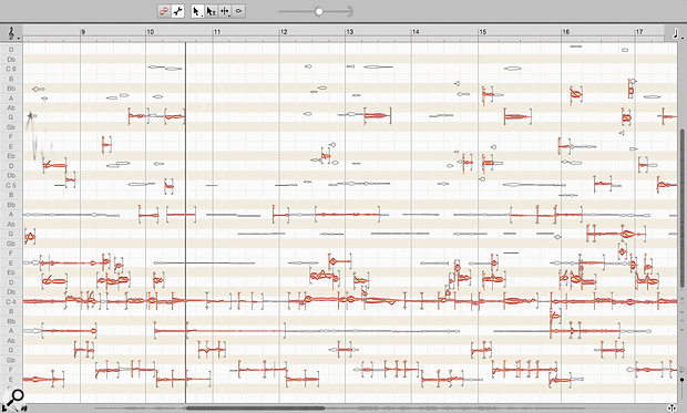 In Melodyne's Note Assignment mode, you can control the threshold that determines whether Melodyne makes a  potential blob active or inactive. Note that I've zoomed in here for clarity; there are plenty more potential note blobs to consider out of shot.
