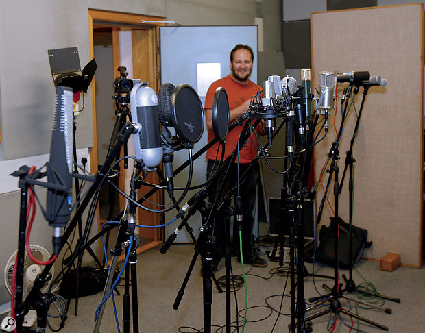 There's a limit to what's practical when comparing mics, but we managed to get a selection of 14 mics of all shapes and types set up for auditioning.