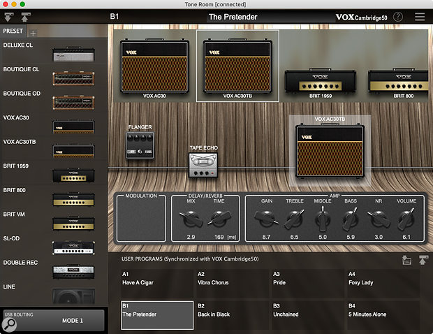 The free Tone Room software allows you to select, tweak and store presets.