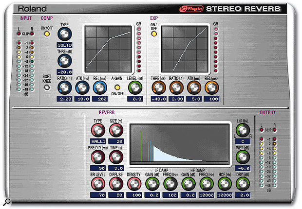 Although the new Stereo Reverb algorithm is clearly a step up in quality compared to the VS8F2's Reverb, the pre-reverb dynamics blocks may be rarely used in practice.