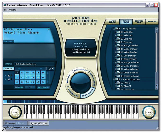 VSL's innovative interface for the Vienna Instruments. The patch list is displayed on the right (this space can be used to show various parameters via its top tabs), while the currently selected patch is shown at the top left. Below this is the 12x12 articulation matrix, in the centre is the selector ring, and at the bottom left above the virtual keyboard is a keyswitch note assigned to a matrix.