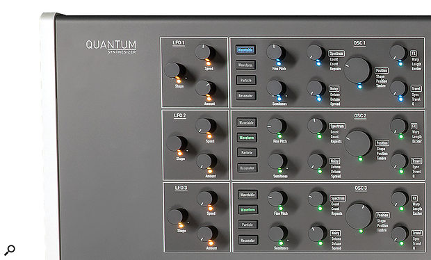 Waldorf Quantum left side panel controls.