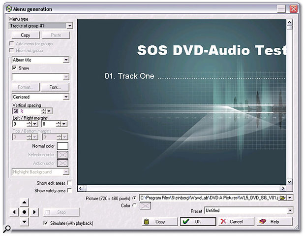 Wavelab's new Menu Generation window allows you to customise how menu screens will look when you play back your DVD-Audio disc on a system attached to a video screen.