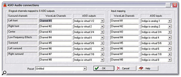 The ASIO Connections window allows you to set which surround channels are output to which physical outputs on your audio hardware.