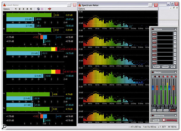Both Wavelab's real-time analysis tools and Master Section offer support for multi-channel functionality.