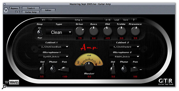 The Waves Amp plug-in includes seven different amp models, plus cabinet emulations that can be placed in mono or stereo configurations.