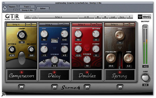 GTR effects and processors are loaded into the Waves Stomp 'virtual pedalboard' plug-ins.