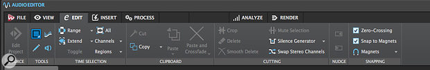The toolbar ribbon's control set changes dynamically as you switch between the Audio Editor (the Edit tab is shown here) and the Audio Montage (below).