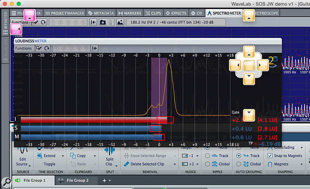The new user interface has extensive customisation options, including the ability to dock various sub-windows (such as the Loudness Meter shown here) at specific points in the main window. This includes placing them around the edge of the main window, where they can be 'popped' open simply by hovering the mouse over the label.