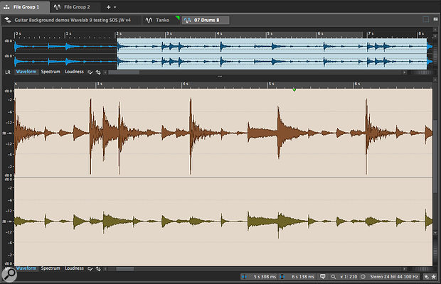 The Audio Editor allows you to see — and edit — Mid-Sides waveform displays, thanks to a toggle button located bottom left (it shows M-S in this screenshot).