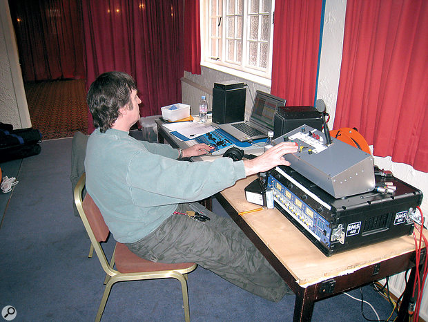 Mission control: Paul White (left) runs the recording session from an alcove situated within the recording space. The system was based around a SADiE hard disk recording system (below), and expanded with a Focusrite ISA mic preamp and A‑D converter.