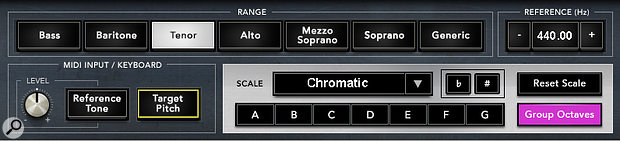 The control set allows you to select a voice type to focus the pitch-correction within a certain note range.