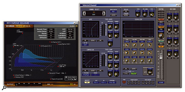 The REVX 'Hall' reverb in the AE031 Reverb package (above), as seen in version 2 of Studio Manager, and (right) the detailed mixer channel view from the same application.