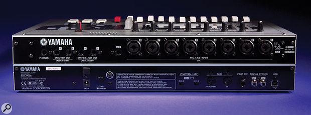Yamaha AW1600 rear panel houses eight combo jack/XLRs.