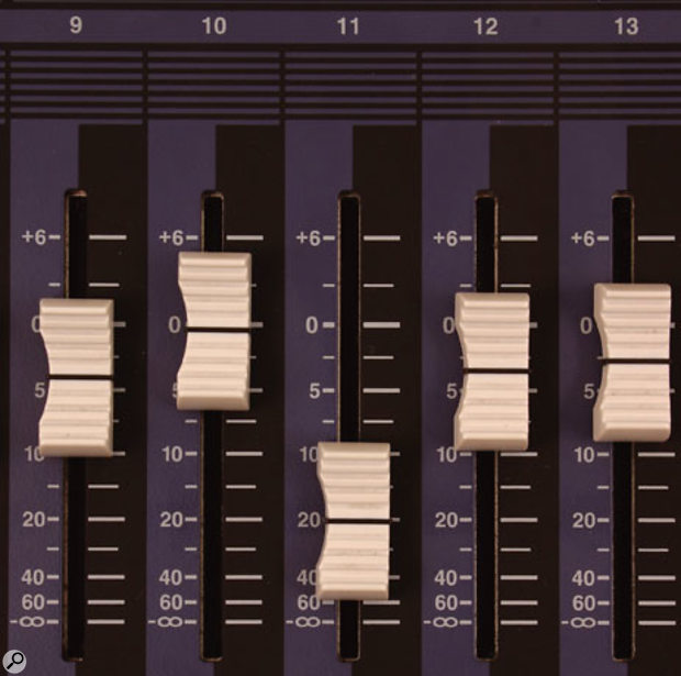 When you come to mixdown, any fader set far below its unity gain position makes mixing less accurate, because the resolution of the AW4416's faders gets coarser at lower gain settings — you can tell this from the scale printed to the side of each fader.