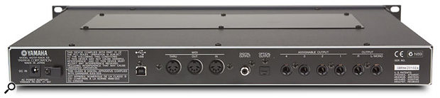 The back panel seems unchanged from the days of the original Motif Rack, featuring the USB computer connection, MIDI In, Out and Thru, main stereo outputs and four individual outs on analogue jacks, and co-axial and optical stereo digital out.
