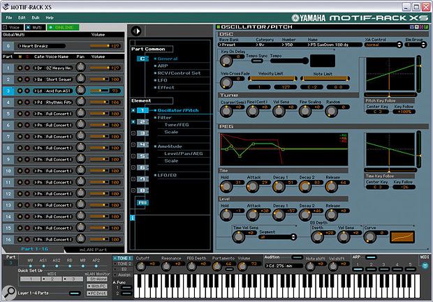 Parts can be edited right down to individual Element level from within a Multi, using the Rack XS software editor.