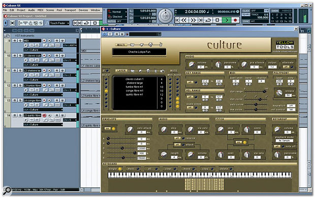 Culture here being hosted by Steinberg Cubase; the pattern in the background comes from Yellow Tools' extra Culture Groove Pack.