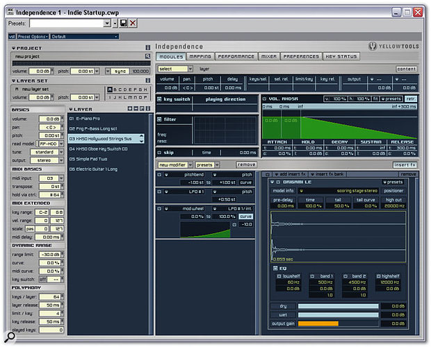 The default Modules View, showing the Origami LE convolution reverb applied to Layer 3 as an insert effect.