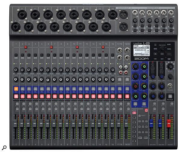 Zoom LiveTrak L‑20 digital mixer/recorder.